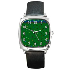 Green Abstract A Colorful Modern Illustration Square Metal Watch
