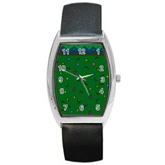 Green Abstract A Colorful Modern Illustration Barrel Style Metal Watch