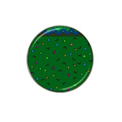 Green Abstract A Colorful Modern Illustration Hat Clip Ball Marker (4 Pack)