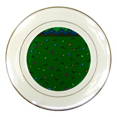Green Abstract A Colorful Modern Illustration Porcelain Plates