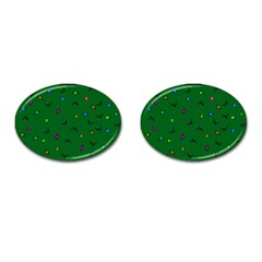 Green Abstract A Colorful Modern Illustration Cufflinks (Oval)