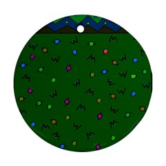 Green Abstract A Colorful Modern Illustration Round Ornament (Two Sides)