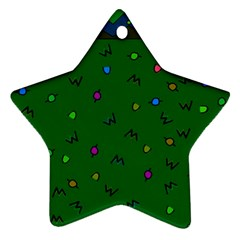 Green Abstract A Colorful Modern Illustration Star Ornament (two Sides)