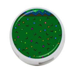 Green Abstract A Colorful Modern Illustration 4 Port Usb Hub (one Side)