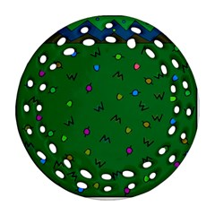Green Abstract A Colorful Modern Illustration Round Filigree Ornament (two Sides)