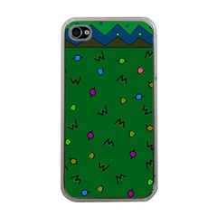 Green Abstract A Colorful Modern Illustration Apple iPhone 4 Case (Clear)