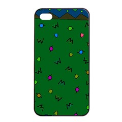 Green Abstract A Colorful Modern Illustration Apple iPhone 4/4s Seamless Case (Black)