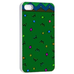 Green Abstract A Colorful Modern Illustration Apple iPhone 4/4s Seamless Case (White)