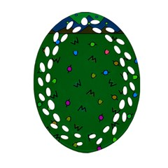 Green Abstract A Colorful Modern Illustration Oval Filigree Ornament (Two Sides)