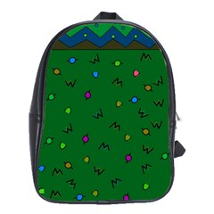 Green Abstract A Colorful Modern Illustration School Bags (XL)