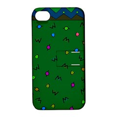 Green Abstract A Colorful Modern Illustration Apple iPhone 4/4S Hardshell Case with Stand