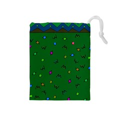 Green Abstract A Colorful Modern Illustration Drawstring Pouches (Medium)