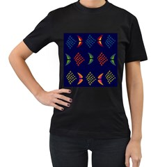 Abstract A Colorful Modern Illustration Women s T-Shirt (Black) (Two Sided)