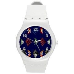 Abstract A Colorful Modern Illustration Round Plastic Sport Watch (M)