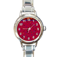 Red Abstract A Colorful Modern Illustration Round Italian Charm Watch