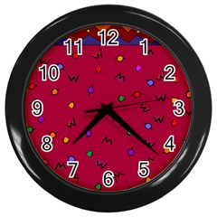 Red Abstract A Colorful Modern Illustration Wall Clocks (black)