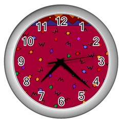 Red Abstract A Colorful Modern Illustration Wall Clocks (silver)