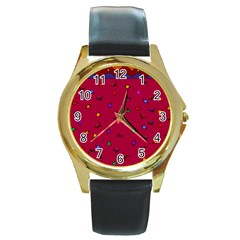 Red Abstract A Colorful Modern Illustration Round Gold Metal Watch