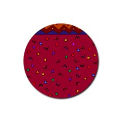 Red Abstract A Colorful Modern Illustration Rubber Round Coaster (4 Pack)