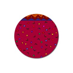 Red Abstract A Colorful Modern Illustration Magnet 3  (Round)