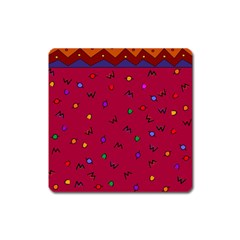 Red Abstract A Colorful Modern Illustration Square Magnet