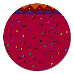 Red Abstract A Colorful Modern Illustration Magnet 5  (round)