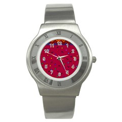 Red Abstract A Colorful Modern Illustration Stainless Steel Watch