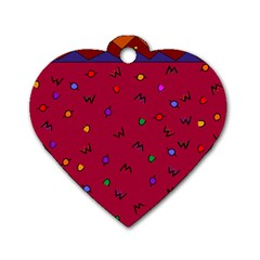 Red Abstract A Colorful Modern Illustration Dog Tag Heart (one Side)