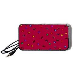 Red Abstract A Colorful Modern Illustration Portable Speaker (Black)