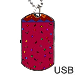 Red Abstract A Colorful Modern Illustration Dog Tag USB Flash (One Side)