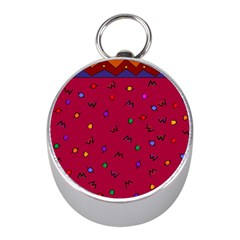 Red Abstract A Colorful Modern Illustration Mini Silver Compasses