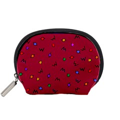 Red Abstract A Colorful Modern Illustration Accessory Pouches (Small)
