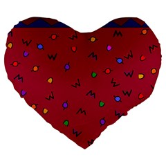 Red Abstract A Colorful Modern Illustration Large 19  Premium Flano Heart Shape Cushions