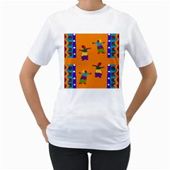 A Colorful Modern Illustration For Lovers Women s T-Shirt (White) (Two Sided)