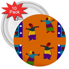 A Colorful Modern Illustration For Lovers 3  Buttons (10 Pack)