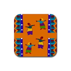A Colorful Modern Illustration For Lovers Rubber Square Coaster (4 pack)