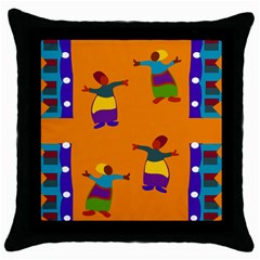 A Colorful Modern Illustration For Lovers Throw Pillow Case (black)