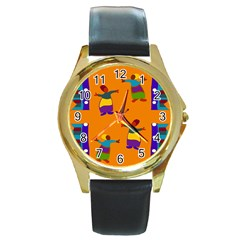 A Colorful Modern Illustration For Lovers Round Gold Metal Watch