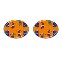 A Colorful Modern Illustration For Lovers Cufflinks (oval)