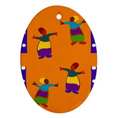 A Colorful Modern Illustration For Lovers Oval Ornament (Two Sides)