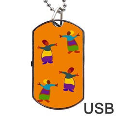 A Colorful Modern Illustration For Lovers Dog Tag USB Flash (One Side)