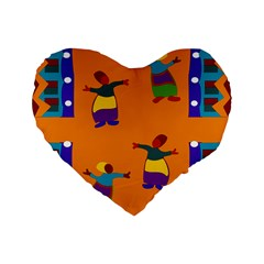 A Colorful Modern Illustration For Lovers Standard 16  Premium Flano Heart Shape Cushions