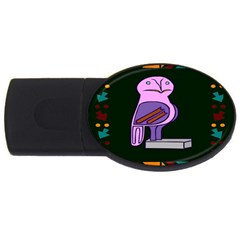 Owl A Colorful Modern Illustration For Lovers USB Flash Drive Oval (1 GB)
