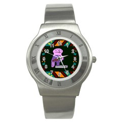 Owl A Colorful Modern Illustration For Lovers Stainless Steel Watch