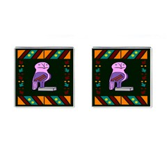 Owl A Colorful Modern Illustration For Lovers Cufflinks (Square)