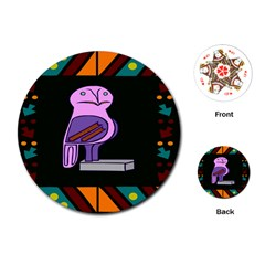 Owl A Colorful Modern Illustration For Lovers Playing Cards (round)