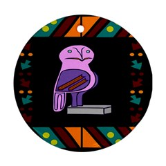 Owl A Colorful Modern Illustration For Lovers Round Ornament (Two Sides)
