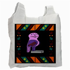 Owl A Colorful Modern Illustration For Lovers Recycle Bag (two Side)
