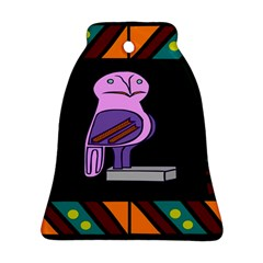 Owl A Colorful Modern Illustration For Lovers Bell Ornament (Two Sides)