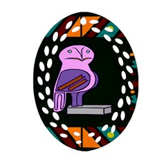 Owl A Colorful Modern Illustration For Lovers Ornament (Oval Filigree)